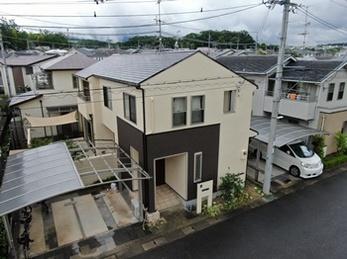 外壁 日本ペイント パーフェクトトップ 屋根 JPM フッ素UVコートで塗り替えさせていただきました。