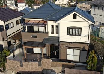 外壁 アステックペイント リファインSi 屋根 フッ素UVコートで塗り替えさせていただきました。