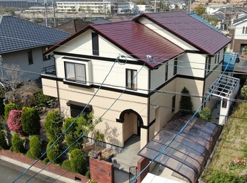 外壁 アステックぺイント リファインMF 屋根 JPM 無機UVコート(遮熱型)使用し塗り替えさせていただきました。