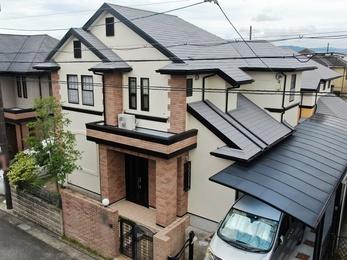 外壁 日本ペイント パーフェクトトップ 屋根 日進産業 ガイナで塗り替えさせていただきました。