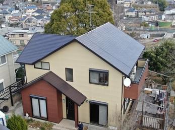 屋根・JPMフッ素UVコート、外壁・アステックペイントリファインSiで施工させて頂きました。